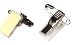 Self-adhesive pin/clip combo for ID badge