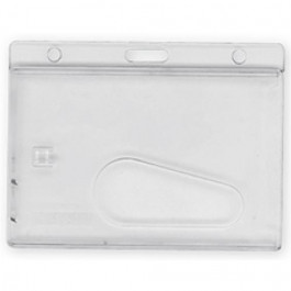 Clear enclosed holder with thumb slot