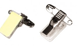 Self-adhesive pin/clip combo for ID badge